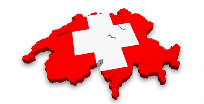 3d map of Switzerland isolated on a white background